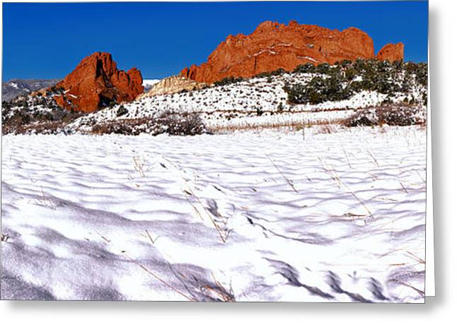 Greeting Card featuring the photograph Garden Of The Gods Snowy Morning Panorama by Adam Jewell