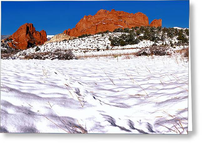 Greeting Card featuring the photograph Garden Of The Gods Snowy Morning Panorama Crop by Adam Jewell
