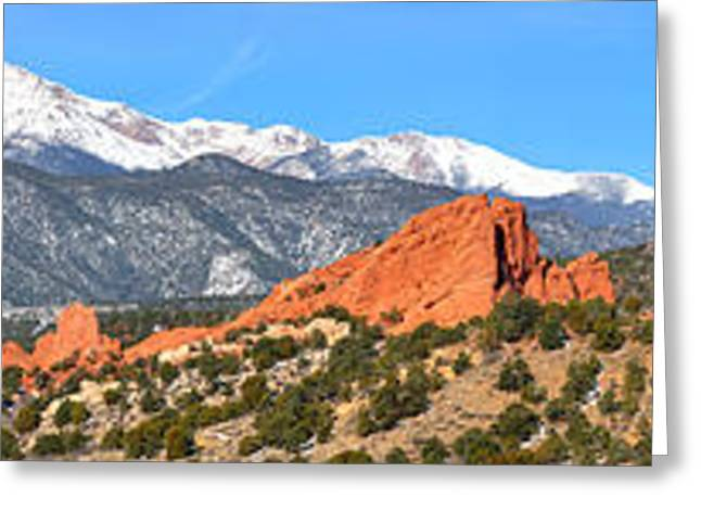 Greeting Card featuring the photograph Garden Of The Gods Spring Panorama by Adam Jewell