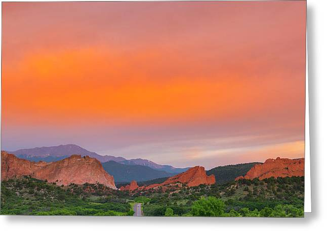 Greeting Card featuring the photograph Garden Of The Gods Sunset by Tim Reaves