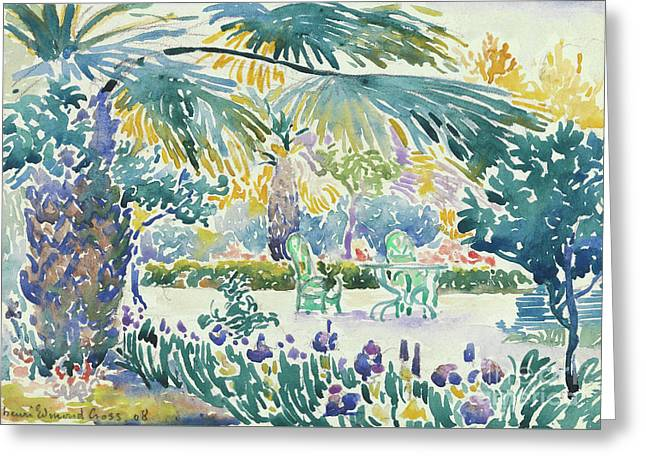 Garden Of The Painter At Saint Clair, 1908  Greeting Card by Henri Edmond Cross