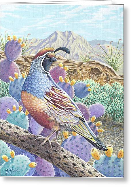 Garden Of The Quail Greeting Card
