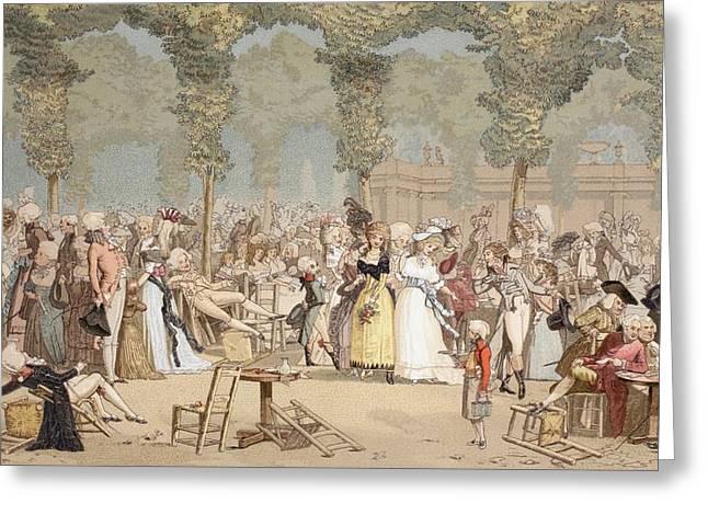 Garden On The Palais-royal, Paris Greeting Card by Vintage Design Pics