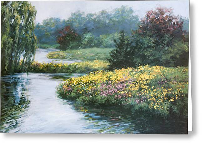 Garden On Water Greeting Card by Laurie Hein