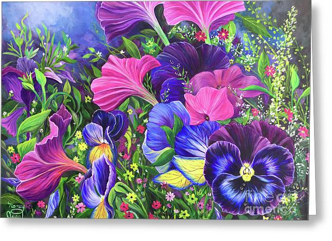Greeting Card featuring the painting Garden Party by Nancy Cupp