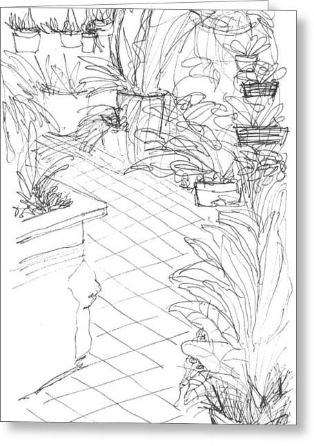 Garden Path Greeting Card by Elizabeth Thorstenson