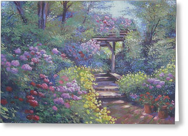 Garden Path In Soft Light Greeting Card