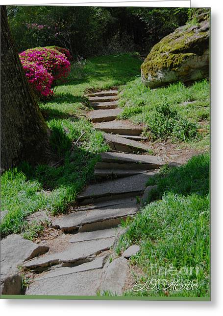 Garden Path Greeting Card by Linda Mesibov