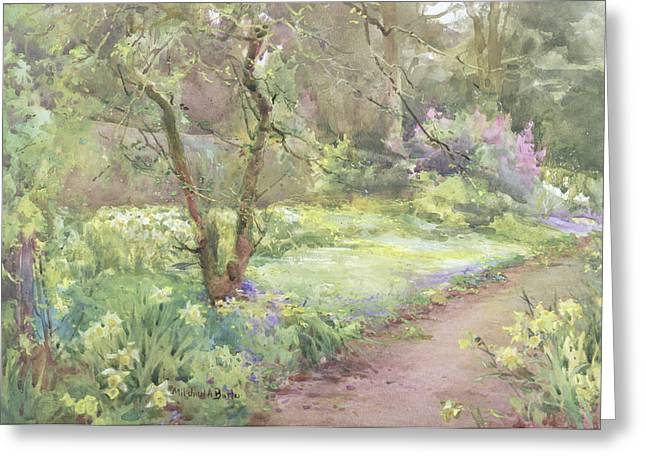 Dirt Road Greeting Cards - Garden Path Greeting Card by Mildred Anne Butler