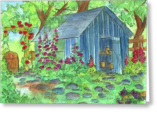 Garden Potting Shed Greeting Card by Cathie Richardson