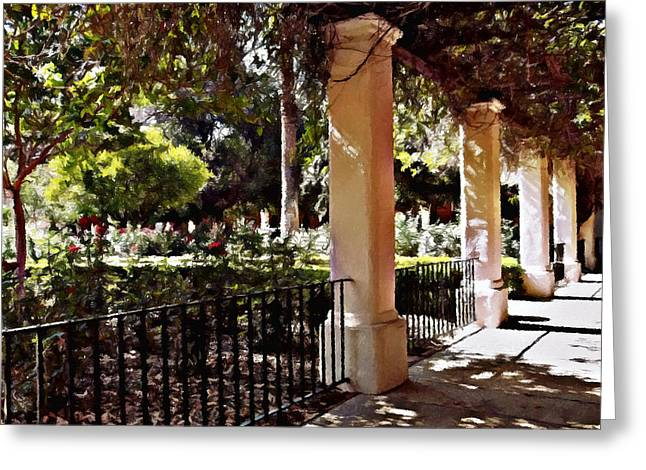 Greeting Card featuring the photograph Garden Promenade - San Fernando Mission by Glenn McCarthy Art and Photography