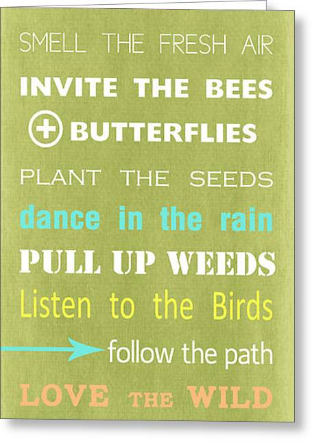 Garden Rules Greeting Card by Linda Woods