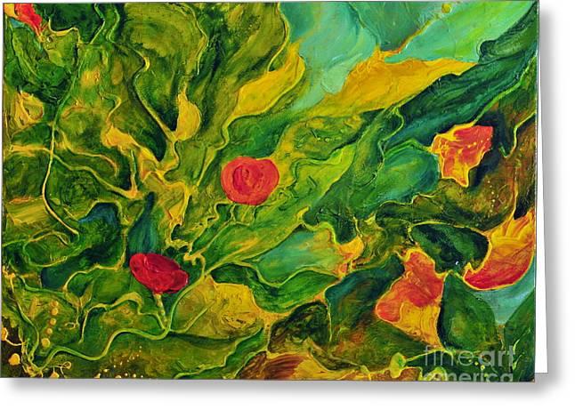 Greeting Card featuring the painting Garden Series by Teresa Wegrzyn