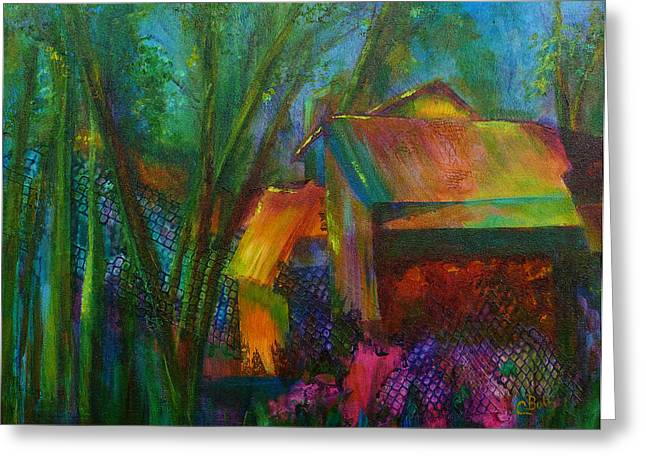 Garden Shed Greeting Card by Claire Bull