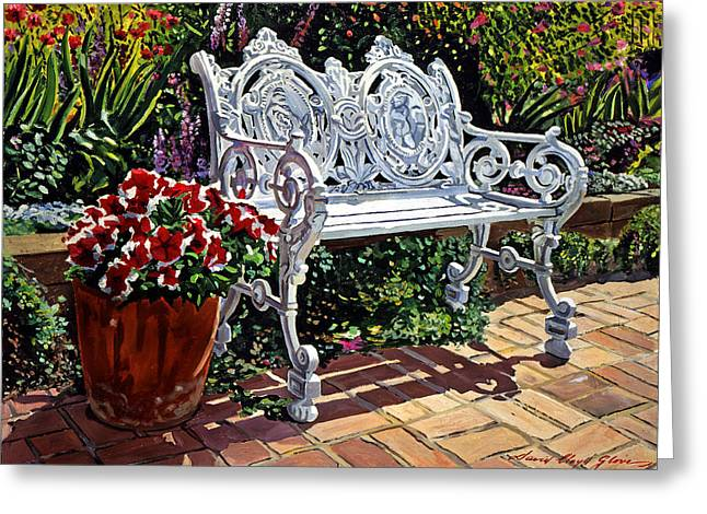 Garden Sitting Place Greeting Card by David Lloyd Glover