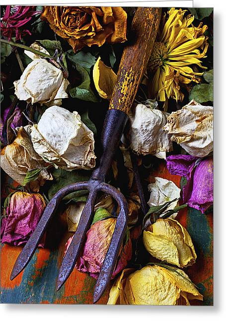 Garden Tool And Old Roses Greeting Card