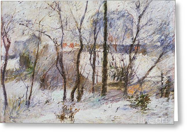 Snow Scenes Greeting Cards - Garden under Snow Greeting Card by Paul Gauguin