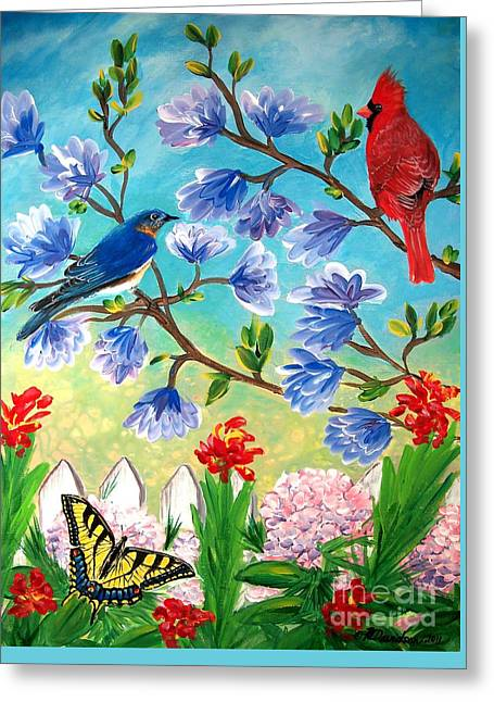 Garden View Birds And Butterfly Greeting Card by Patricia L Davidson
