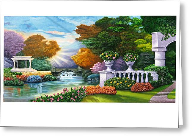 Landscapes Reliefs Greeting Cards - Garden View Landscape 1 Greeting Card by Prashant Hajare