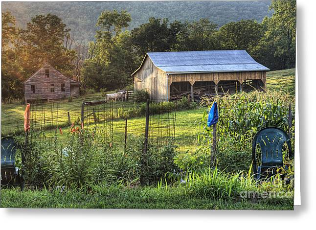Garden View Greeting Card by Pete Hellmann