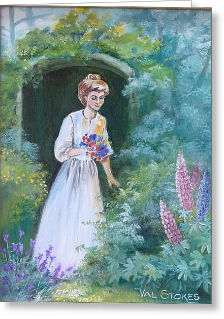Garden Walk - B Greeting Card by Val Stokes