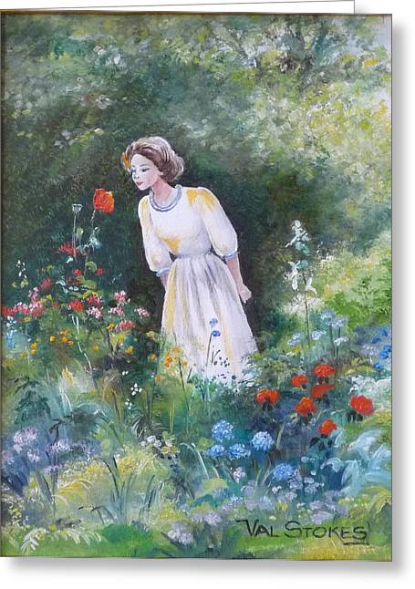 Garden Walk A Greeting Card by Val Stokes