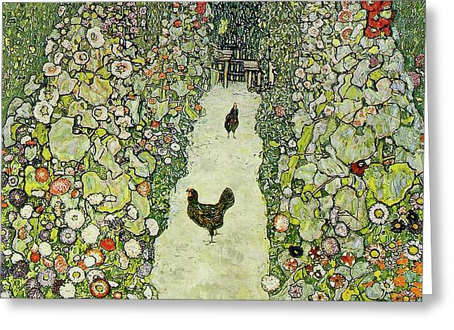 Garden With Chickens Greeting Card by Gustav Klimt
