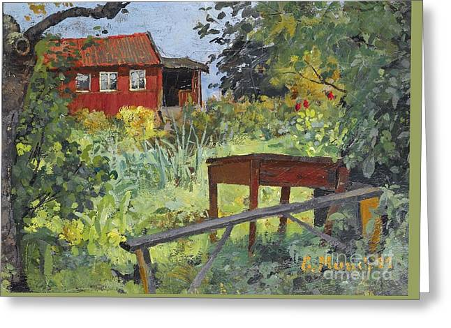 Garden With Red House Greeting Card by Celestial Images