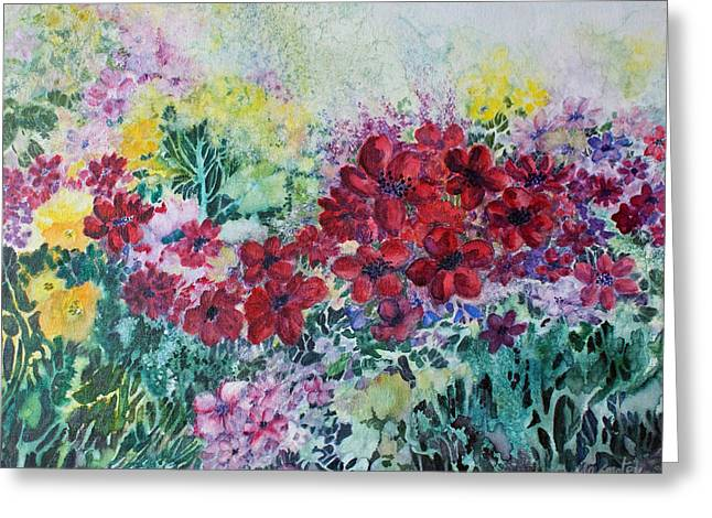 Greeting Card featuring the painting Garden With Reds by Joanne Smoley