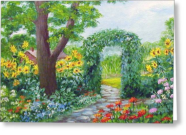 Garden With Sunflowers Greeting Card by Lois Mountz
