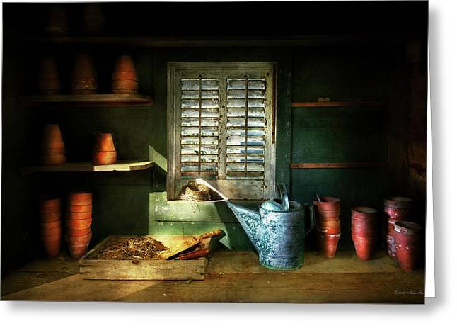 Greeting Card featuring the photograph Gardener - The Potters Shed by Mike Savad