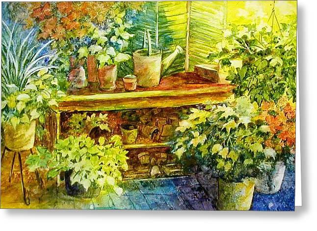 Sprinkling Can Greeting Cards - Gardeners Joy Greeting Card by Lois Mountz