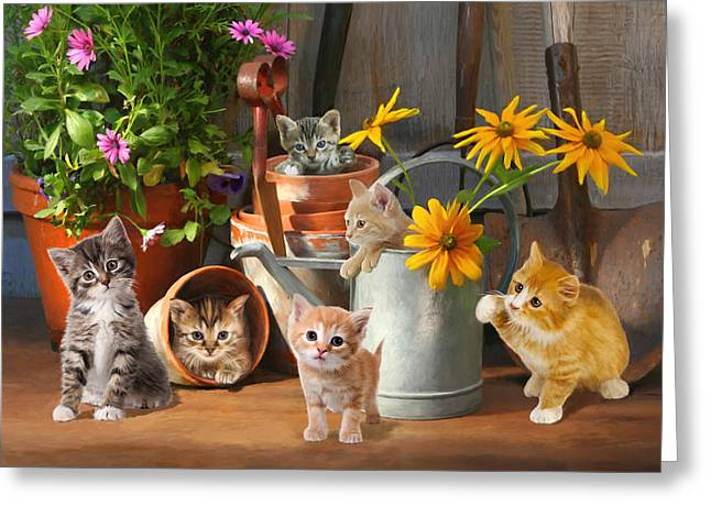 Gardening Kittens Greeting Card