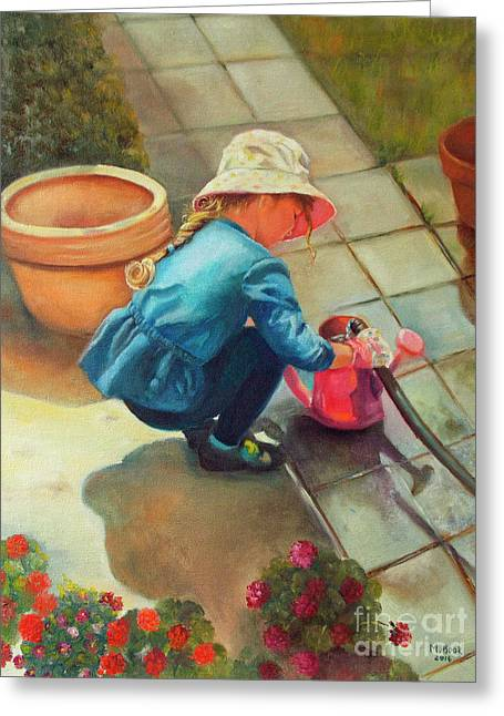 Greeting Card featuring the painting Gardening by Marlene Book