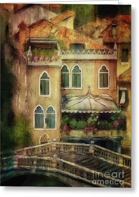 Gardening Venice Style Greeting Card by Lois Bryan