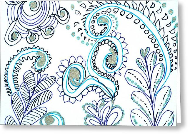 Greeting Card featuring the drawing Gardens by Carole Brecht