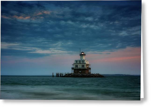Gardiners Bay At Dusk Greeting Card