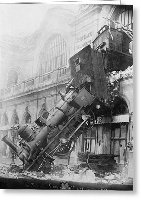 Science Collection - Greeting Cards - Gare Montparnasse Train Wreck 1895 Greeting Card by Photo Researchers
