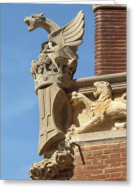 Gargoyle At Sant Pau Greeting Card by Dave Mills