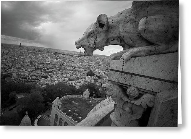 Gargoyle Hungry For The Eiffel Tower Greeting Card by James Udall