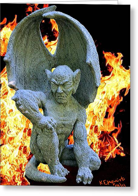 Gargoyle Greeting Card by Kristin Elmquist