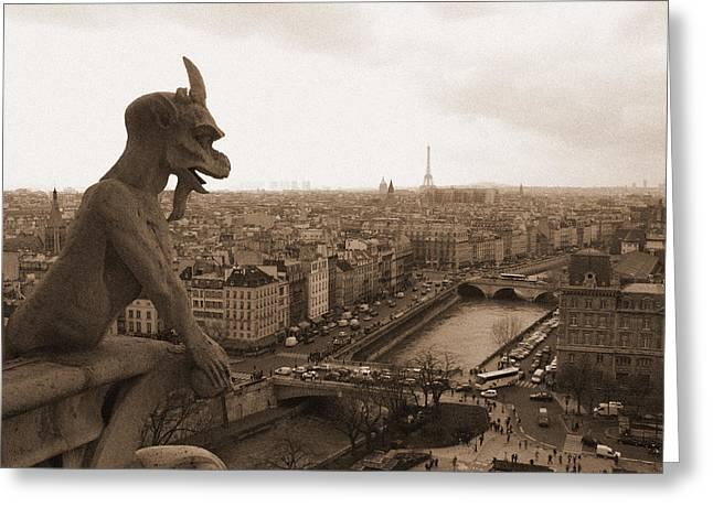 Gargoyle Looking Over Paris Greeting Card