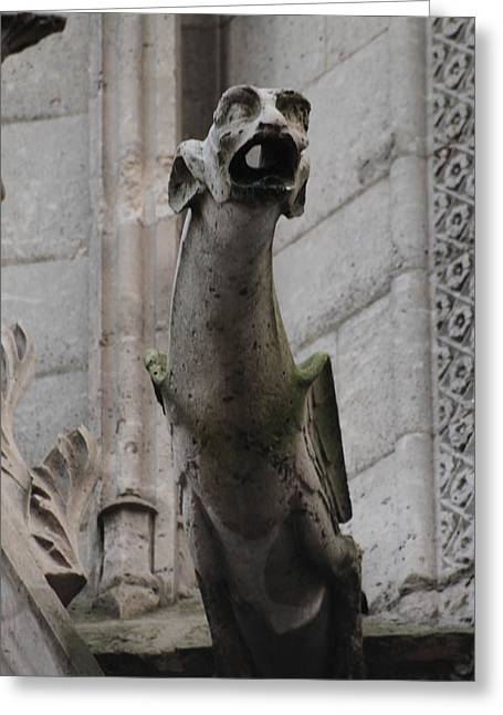 Greeting Card featuring the photograph Gargoyle Notre Dame by Christopher Kirby