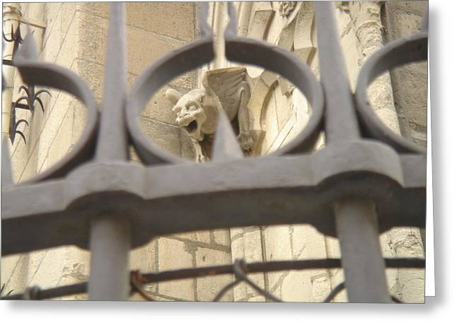 Gargoyle On Notre Dame Greeting Card by John Julio