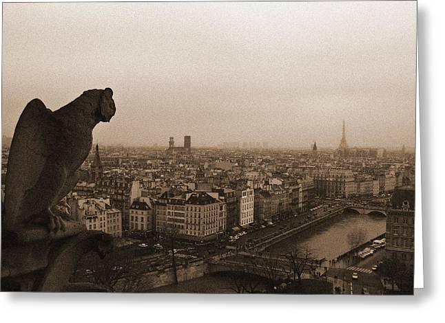 Gargoyle Over Paris Greeting Card