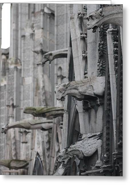 Greeting Card featuring the photograph Gargoyles North Notre Dame by Christopher Kirby