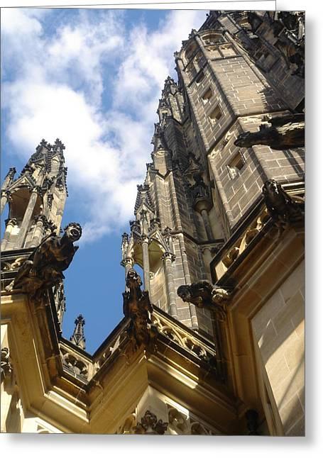 Gargoyles On St. Vitus Cathedral Greeting Card by John Julio