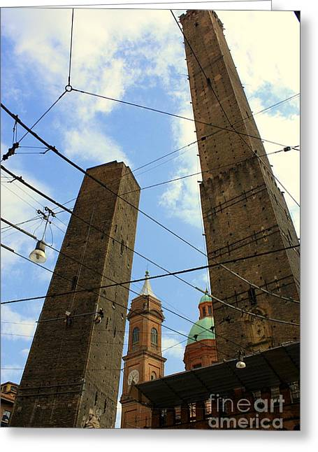 Garisenda And Asinelli Towers Greeting Card