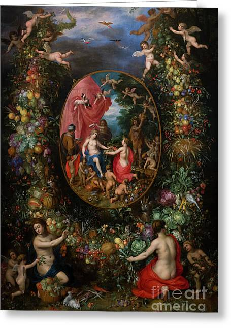 Garland Of Fruit Surrounding A Depiction Of Cybele, By Jan Brueg Greeting Card