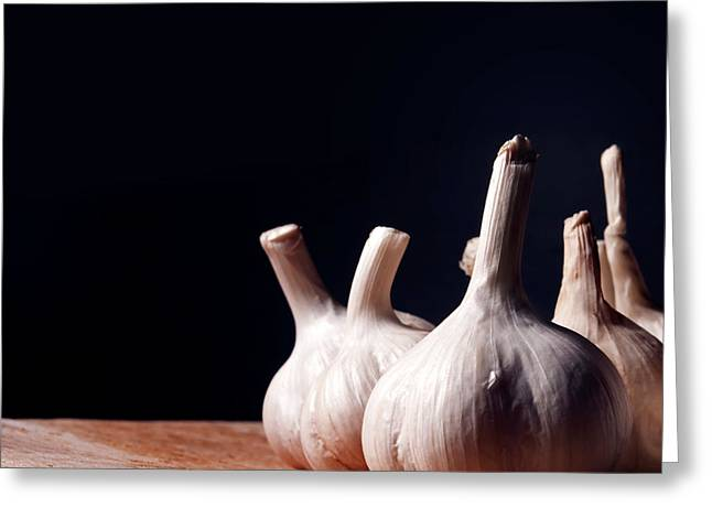 Garlic Bulbs On Wooden Table Greeting Card by Jelena Jovanovic